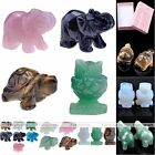 Carved Animals Quartz Gemstone Home Office Decoration Figurine Display Ornaments