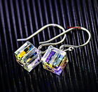 925 Sterling Silver 8mm AB White Swarovski Crystal Cube Square Drop Earring IE18