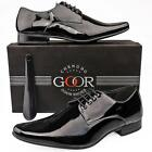 Mens Gents New Black Patent Lace Up Leather Lined Formal Suit Smart Shoes 6 - 12