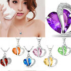 Women Heart Crystal Rhinestone Silver Chain Pendant Necklace Jewelry Hot Sale