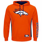 NEW Mens MAJESTIC Denver Broncos Passing Game NFL Orange Pullover Fleece Hoodie