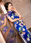 100% silk blue new Chinese style Women's evening Dress Cheongsam sz:6.8.10.12.14
