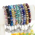 Faceted Rondelle Crystal Glass Dangle Ball Beads Elastic Bracelet Bangle Jewelry