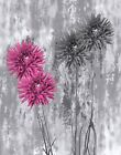 Pink Gray Floral Bathroom/Bedroom Modern Wall Art Decor Matted Picture