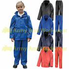 Childrens Kids Waterproof Rainsuit Storm Rain Jacket & Trousers Set Childs Coat