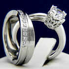 New Solitaire Engagement 925 Silver 316L Stainless Steel Wedding Bridal Ring Set