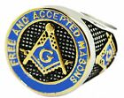 Stainless Steel  F. & A.M. Masonic Enamel Gold  Plated ring sizes 7-14 US seller