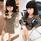 Kids Toddlers Girls clothing long Sleeves Leopard Party Dress Skirt Ages 2-11Y