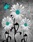 Daisy Flowers & Butterflies In Teal Gray/Floral Wall Art Matted Picture