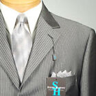 46L STEVE HARVEY  Dark Gray Striped  SUIT SEPARATE  46 Long Mens Suits - SS15
