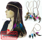 Peacock Feather Hippie 70s Party Plaited Braided Headband Hair Band Extension