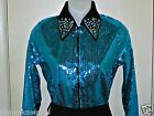 Girls Turquois Sequin Western Rail, Pleasure, Rodeo, Trail, Queen, Glamour Shirt