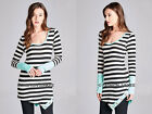 MINT BLACK White STRIPED Assymmetrical TOP Buttons Long Sleeve Tunic Shirt S M L