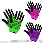 AS175 Neon Fishnet Fingerless Short Gloves 80s Madonna Costume 1980s Burlesque