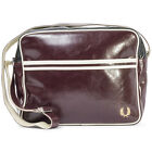 Fred Perry Mens Messenger Bag in Maroon Red New Classic