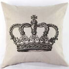 Good Sofa Home Decor Linen Cotton Blended Cushion Cover Crown Throw Pillow Case