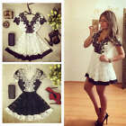 Fashion Womens Summer Lace Short Sleeve V Neck Flower Party Shirt Mini Dress
