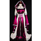 K61 Burgundy Hooded Gown Game Thrones Renaissance Medieval Queen Dress Costume