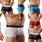 Hot Sexy Men's Boxers Briefs Underwear Shorts Transparent Breathable Underpants