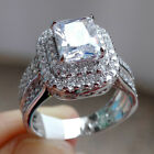 Radiant White Cz 925 Sterling Silver Engagement Ring Wedding Gemstone Size 5-10
