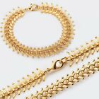 14mm MENS Chain Centipede Yellow Gold Filled GF Bracelet Necklace GF Jewelry SET