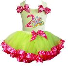 Lime Hot Pink Satin Trimmed Tutu 2nd Butterfly Birthday Party Dress