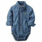 Carters 6 12 18 24 Months Chambray Button Front Bodysuit Baby Boy Clothes