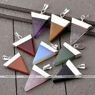 Triangle Gemstone Healing Point Quartz Reiki Chakra Beads Pendant Fit Necklace