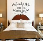 Husband & Wife Together For Life Custom Date Vinyl Decal Wall Sticker Words