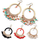 Great Fancy Women Boho Style Beads Tassels Circle Dangle Hook Earrings Jewelry