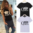 New Womens Queen Letter Print T-shirt Casual Short Sleeve Tee Tops Blouse Shirts