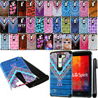For LG Escape 2 2nd Gen 2015 ShockProof HYBRID Rugged HARD SOFT Case Cover + Pen