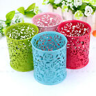 New Hollow Flower Pattern Cylinder Pen Pencil Pot Holder Container Organizer NI