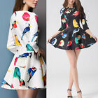 Fashion Women Bird Floral Print 3/4 Sleeve Crewneck Slim Mini Dress Elegant