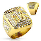 Men's Stainless Steel Ring with Cross Paved CZ Gold IP Band