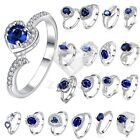 Sapphire Wedding Rings Size 8-10 Women's 925 Silver Plated Jewelry