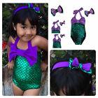 Girls Costume Little Mermaid Bikini Suit Swimmable Swimming Swimsuit Swimwear