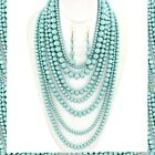 Long Multi 7 Strand Layered Pearl Beaded Chunky Statement Necklace Earrings Set