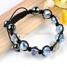 Simple Facted Crystal Glass Bead String Woven Braided Adjustable Cuff Bracelet