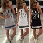 BD Sports Style Women Letter LOVE Printed Long T-shirt One-piece Casual Dress
