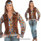 CL804 Ladies Hippie 70s Retro Costume Groovy Shirt Attach Vest Headband Costume