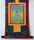 "14"" SILK BROCADED BLESSED GOLDEN WOOD SCROLL TIBETAN THANGKA: 100 TARAS"