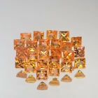 2.6mm Lot 1,5,10pcs Square Princess Cut Natural Gemstone Yellow Orange SAPPHIRE