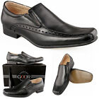 Mens New Black Leather Lined Smart Brogue Slip On Shoes FREE EXPRESS DELIVERY