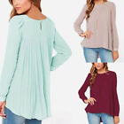 AU8-26 Women's Loose Irregular Tops Long Sleeve T Shirt Blouse Plus Size Chiffon