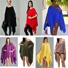 BD Women Sexy Poncho Cloak Cape Batwing Top Casual Blouse Loose Dress Size S-XXL