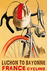 BICYCLE LUCHON TO BAYONNE FRANCE CYCLING BIKE RIDE BIKING VINTAGE POSTER REPRO