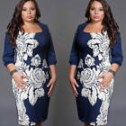 New Women Floral Slim Round Neck Party Cocktail Evening Mini Dress Plus Size