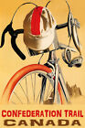 BICYCLE CONFEDERATION TRAIL CYCLING CANADA BIKE RIDE BIKING VINTAGE POSTER REPRO
