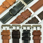 QUALITY VINTAGE CALF GENUINE LEATHER thick watch strap band 18mm-24mm black tan